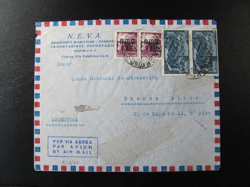 Airmail Cover To Argentina With A Pair Of The 100 Lire Risorgimento High Value